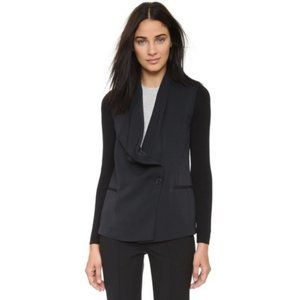 Vince Black Draped Knit Sleeve Blazer